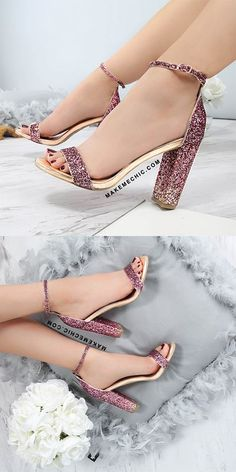 Ombre Glitter Chunky Heels MULTI # Outfits mujer How to make glitter shoes! - A Beautiful Mess Stilettos, Stiletto Heels, Pumps, Cute Heels, Lace Up Heels, Pretty Shoes, Beautiful Shoes, Beautiful Mess, Shoe Boots