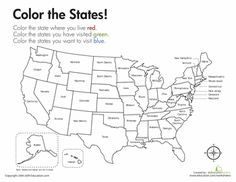 Worksheets: Geography: Color the States!
