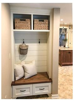 Mudroom Bench Plans, Mudroom Storage Bench, Mudroom Laundry Room, Hallway Bench With Storage, Closet To Mudroom, Closet Bench, Shoe Storage, Diy Entry Storage, Entry Coat Rack Bench