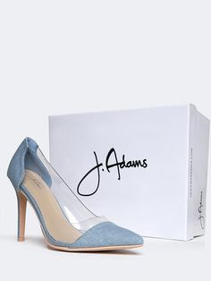 9b63945d9eb Clear Pointed Toe Pumps From J.Adams in denim. On ZOOSHOO and also available