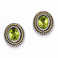 Silver Peridot Earrings - Sterling Silver with Genuine 14k Peridot Earrings