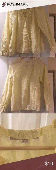 loft baby yellow blouse Used. Baby yellow. 100% cotton. Soft. Cleaning my closet. Medium petite LOFT Tops Blouses