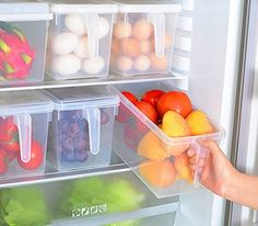 mDesign Refrigerator and Freezer Storage - Set of 2 - Storage Containers for Food Items - Practical Storage Boxes for the Kitchen - Clear Fridge Shelves, Freezer Storage, Refrigerator Organization, Refrigerator Freezer, Organized Fridge, Freezer Organization, Kitchen Organization, Organization Hacks, Kitchen Storage