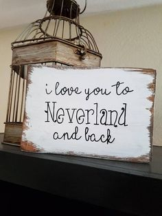 I love you to Neverland and back distressed wood sign measures approximately 5 x 7. This is perfect for Disney and Peter Pan lovers and goes great in any nursery or kids room. Also ideal for a baby shower gift! Can be hung on the wall or stand alone on a dresser, table or shelf. All of