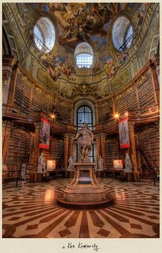 Stunning pics of the Austrian National Library, inside the Hofburg Palace, Vienna--looks like the Beast's library in Beauty and the Beast!