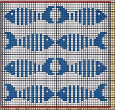Here I offer only the chart pattern for a potholder. I am assuming that you are . : Here I offer only the chart pattern for a potholder. I am assuming that you are familiar with the double-faced knitting technique too. Fair Isle Knitting Patterns, Knitting Charts, Knitting Stitches, Tapestry Crochet Patterns, Crochet Potholders, Fish Patterns, Cross Stitch Animals, Crochet Chart, Filet Crochet