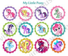 MY LITTLE PONY craft circles  cupcake toppers  by vintagewarehouse, $2.50