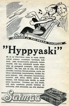 """Hyppyaski"" Old Ads, Vintage Ads, Old School, Nostalgia, Spirit, Words, Movie Posters, Historia, Finland"