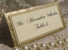 Gold Glitter Tented Place Cards Escort cards by WeddingSparkles, $1.75