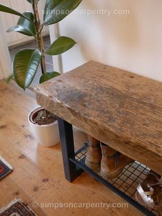 The pine top on this bench is from a Swedish factory floor and it is quite unusual to find this size with a wear-surface (as timbers of this size are usually used between floorboards). Outdoor Shoe Storage, Coat And Shoe Storage, Bench With Shoe Storage, Shoe Cubby, Oak Bench, Entry Bench, Shoe Rack Bench, Reclaimed Furniture, Bespoke Furniture