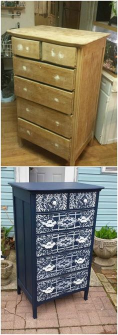 Use lace to spray paint a pattern on the front of an old dresser. I LOVE this revamp!