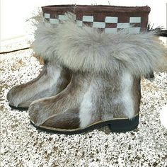 Real Fur Trimmed Ugg - style Russian mukluks Custom made boots from Russia. Russian style mukluks! New, never worn, in all original packaging. These boots are covered in real reindeer and fox furs and in pristine condition. SZ 37 and suitable for 6.5-7.5. I'm a 6 and they're quite large on me. Comes with extra insoles. Very warm, very light on the feet. Reposh. They have the Ugg shape, top is leather and suede. Very reminiscent of the Chanel 14A goat fur Runway boots!! FIRM! Shoes Winter…
