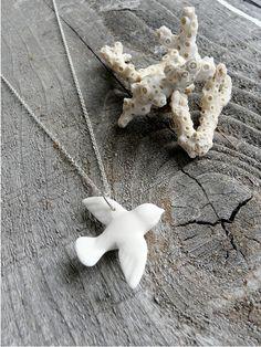 Porcelain Dove Necklace, Silver Chain. $28.00, via Etsy.