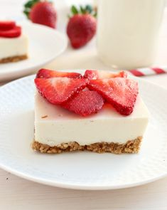 Clean Eating Strawberry Cheesecake Bars: so healthy that you could (and should!) have them for breakfast!