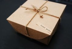 Natural Kraft DIY BOX 17x17cm, with braids n HANDMADE label, set of 2, U6013 $6.50