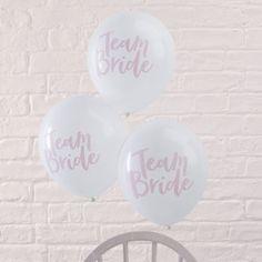 """10 λευκά-ροζ μπαλόνια """"Team Bride"""""""