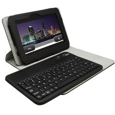 This Kindle Fire HD leather case comes with a detachable bluetooth keyboard that seamlessly connects with your tablet for a quicker and more comfortable typing. Hp Computers, Geek Gadgets, Amazon Kindle Fire, Bluetooth Keyboard, Product Offering, Material Design, Computer Accessories, Leather Case, Cases