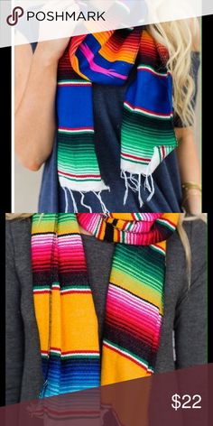 Mexican Saltillo Serape Scarf -Lovely Imported from Mexico, gorgeous 100% acrylic fringed scarf. Rainbow hues. Unique. Colors vary but include multiples of blue, pink, white, black, red, green. This is a mini Mexican serape blanket for your neck! I will be posting more photos. Price firm unless bundled. Please ask questions.  Boutique Accessories Scarves & Wraps