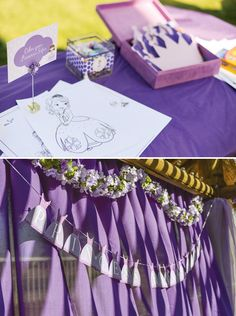 Purple Sofia the First Princess Party // Hostess with the Mostess® Vinyl crowns on water bottles, paper poms My Princess, Purple Princess Party, Princess Sofia Birthday, Disney Princess Party, Sophia The First Birthday Party Ideas, 3rd Birthday Parties, 4th Birthday, Birthday Ideas, Party Deco