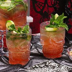 Shocktails! Creepy & classic Halloween cocktails - Party City  To make this Bloody Moscow Mule, fill a skull mug with ice, then add 1-1/4 oz. vodka, 1/2 oz. sugar syrup and 1/4 oz. lime juice. Top with 3 oz. ginger beer. Garnish with fresh mint and a lime wheel. Once you've got the recipe down, mix up a pitcher to keep bodies from piling up at the bar.