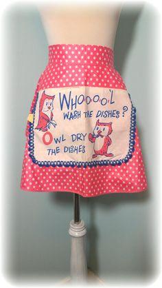 Vintage Half Apron- Owls & Polka Dots