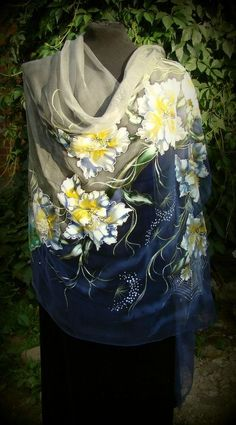 Natural silk shawl floral butterfly cobweb by Studijakalla