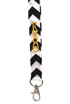 "Kappa Alpha Theta Lanyard - 20"" break -away black and white chevron lanyard with gold monogrammed sorority letters"