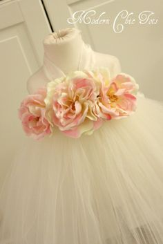 Beautiful tutu dress for birthdays, flower girls, or other special occasions.