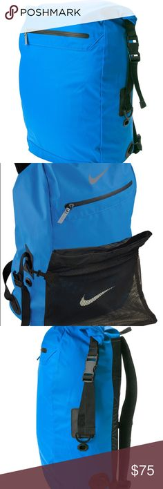Nike Swimmer's Backpack NWT - Swimmer's Backpack features an oversized payload perfect for all your swim gear, detachable mesh bags for your wet and dry items, and a large front panel perfect for team customization. Oversized main compartment with folding closure Ultra durable, water-resistant nylon fabric Detachable mesh component bags to help you stay organized Engineered ventilation for quick drying and odor control Large front panel perfect for customization 32 liters / 1954 cubic inches…