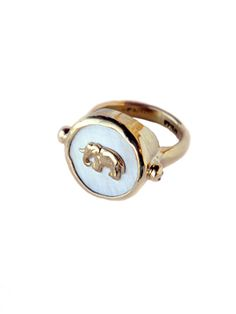 <3 I wish...  Brand: Shompole, Description: An updated version of a classic signet ring, this 18K gold ring with bone is elegant alone or stacked. Part of the Elephant Collection by Shompole, ten percent of profits go to the David Sheldrick Wildlife Trust to save orphan elephants in Africa.  $1500