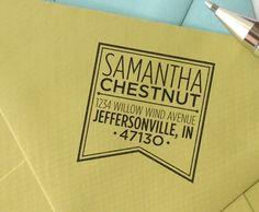 personalized custom wood handle address stamp - Banner design $26