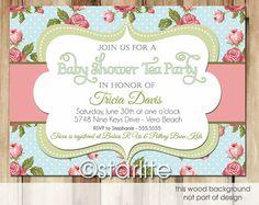 Vintage Tea Blue - Baby Shower Invitation - blue, rose pink, green - tea baby shower - vintage style invitation, vintage chic You Print