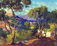 Bush-Gardens-Pasadena by American Impressionist Franz Bischoff