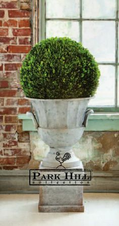 """Park Hill Collection Garden Urn and Pedestal with a 21"""" Boxwood Ball #parkhillcollection"""