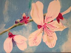 Almond blossom 12x 9 inch acrylic in box canvas by Chubby Peacock find me on Facebook