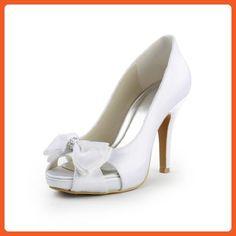 Jia Jia Wedding 37071 Prom Party Dance Bridal Shoes Wommen Pumps White, 10.5 B(M) US - Pumps for women (*Amazon Partner-Link)