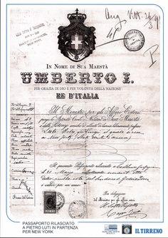 Passaporto rilasciato a Pietro Luti in partenza per New York.