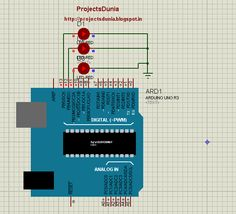 simulation of blink three led at a time Arduino Circuit, Led
