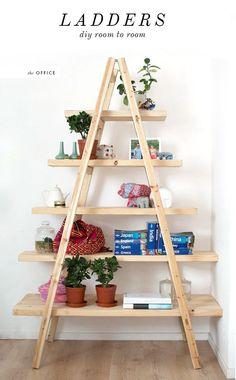 Diy meuble avec 2 echelles et quelques planches de bois ...