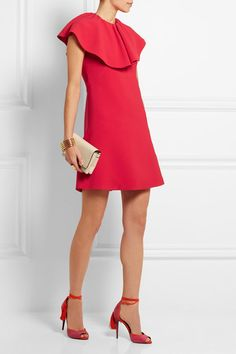 Red cady Concealed hook and zip fastening at back 97% viscose, 3% elastane; trim: 50% cotton, 50% rayon; lining: 100% silk Dry clean Made in Italy