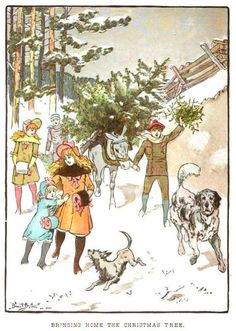 size: Giclee Print: Family Trudging in Snow with Their Christmas Tree by Bettmann : Your Spirit Animal, Christmas Cross, Christmas Holiday, Vintage Christmas, Colorful Drawings, Figurative Art, Vintage Art, Find Art, Framed Artwork