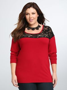 """<p>Bundling-up weather doesn't mean you have to hide your figure in layers. This ribbed bright red sweater hugs your figure while staying soo comfy thanks to the cotton blend. A black lace inset along the shoulders ups the sexy factor.</p>  <p></p>  <p><b>Model is 5'9"""", size 1</b></p>  <ul> <li>Size 1 measures 28"""" from shoulder</li> <li>Rayon/nylon/spandex</li> <li>Wash cold, dry flat</li> <li>Imported plus size sweater</li> </ul>"""