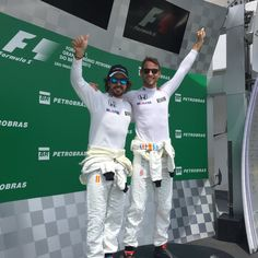 Alonso & Button on the podium in Brazil