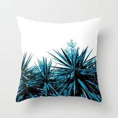 Yucca Trees Throw Pillow by ARTbyJWP from Society6 #cushion #pillows #throwpillow #botanical #tropical --   Throw Pillow made from 100% spun polyester poplin fabric, a stylish statement that will liven up any room. Individually cut and sewn by hand, each pillow features a double-sided print and is finished with a concealed zipper for ease of care.  Sold with or without faux down pillow insert.