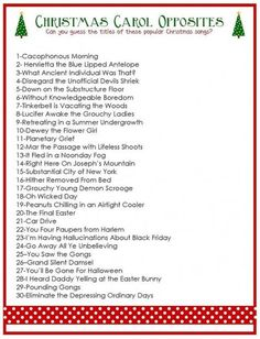 Bring this free printable Christmas Carol Opposites Game to your next Christmas party and watch the fun unfold. : Bring this free printable Christmas Carol Opposites Game to your next Christmas party and watch the fun unfold. Free Christmas Games, Popular Christmas Songs, Xmas Games, Printable Christmas Games, Christmas Activities, Christmas Traditions, Holiday Fun, Holiday Games, Christmas Trivia Games