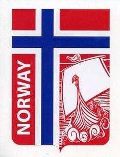 Norway Flag Decal with Viking Ship Norwegian Flag, Norwegian Royalty, Norwegian Vikings, Norwegian Style, Viking Art, Viking Symbols, Viking Ship, Lappland, Patriotic Symbols
