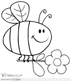 Outlined Happy Bee Flying With Flower In Sky Royalty Free Cliparts . Free Kids Coloring Pages, Animal Coloring Pages, Coloring Book Pages, Coloring Pages For Kids, Art Drawings For Kids, Drawing For Kids, Easy Drawings, Bee Crafts For Kids, Quiet Book Templates