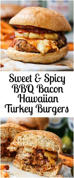 Flavorful, lightened up turkey burgers packed with AMAZING flavor thanks to turkey bacon, spicy bbq sauce, pepper jack cheese and grilled pineapple. Best turkey burgers EVER!(Burger Recipes No Bun) Best Turkey Burgers, Turkey Burger Recipes, Stuffed Turkey Burgers, Stuffed Burger Recipes, Turkey Burger Seasoning, Turkey Burger Sliders, Grilled Turkey Burgers, Ground Turkey Burgers, Grilled Burger Recipes