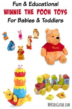 Don't miss out on this great list of Fun & Educational Winnie The Pooh Toys For Babies & Toddlers! Each toy is both fun & helps reach a milestone!