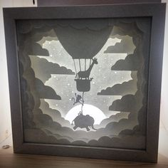 Instagram media ladscott - Taking a moonlight flight... #paperart #art #illustration #lightbox #animals #hotairballoon #nightlight #babyshower Rolled Paper Art, 3d Paper Art, Paper Artwork, Paper Crafts, Lampe 3d, Origami And Quilling, Shadow Box Art, Mermaid Drawings, Paper Animals